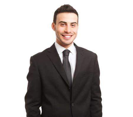 financier: Portrait of a young happy businessman Stock Photo