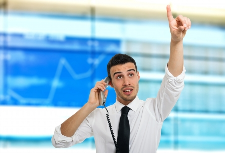 stock traders: Stock broker at work Stock Photo