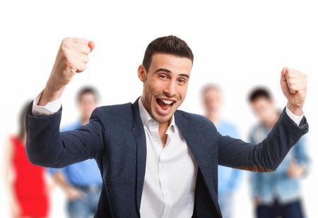 trabajo social: Retrato de un hombre joven muy feliz Foto de archivo