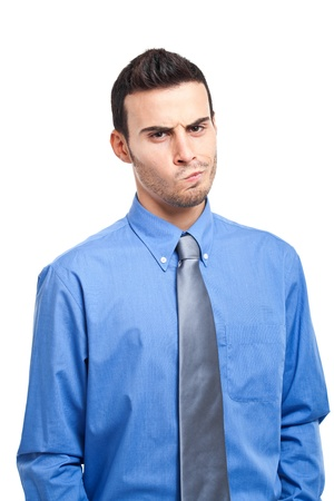 business skeptical: Portrait of a sospicious businessman Stock Photo