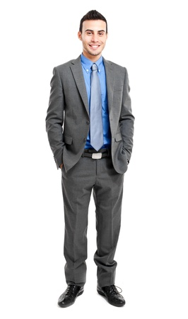 man in suit: Full length portrait of a smiling businessman
