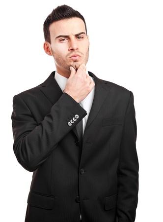 man thinking: L'homme � la recherche de r�ponses Banque d'images