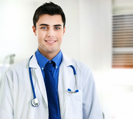 pediatric nurse: Portrait of an handsome young doctor