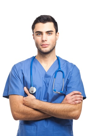 dental nurse: Portrait of an handsome young doctor