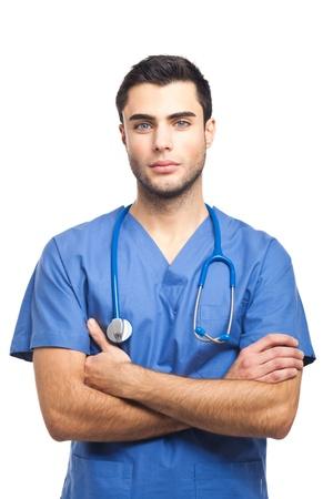 doctoring: Ritratto di un medico giovane e bello Archivio Fotografico