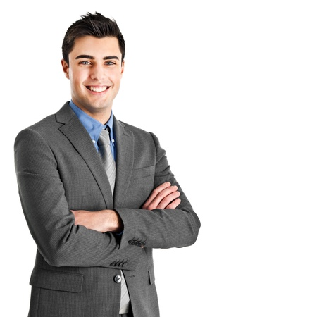 happy businessman: Portrait of an handsome young businessman Stock Photo