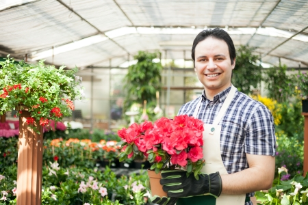floriculture: Greenhouse worker holding a flower pot
