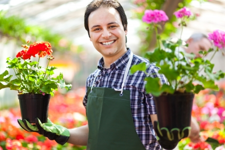 floriculture: Portrait of a smiling greenhouse worker holding flower pots Stock Photo