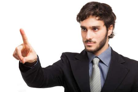 Homme d'affaires pointant son doigt