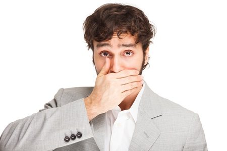 shutting: Man shutting his mouth. Isolated on white Stock Photo