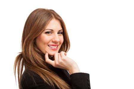 optimismo: Retrato de una mujer joven y sonriente