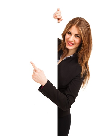secretaria: Mujer hermosa que muestra un tablero blanco Foto de archivo