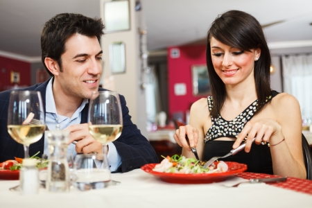 Couple having dinner in a restaurant Stock Photo - 19568020