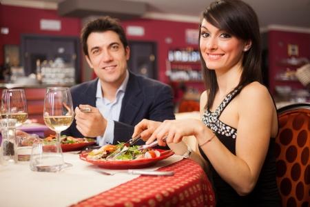 Couple having dinner in a restaurant Stock Photo - 19568100