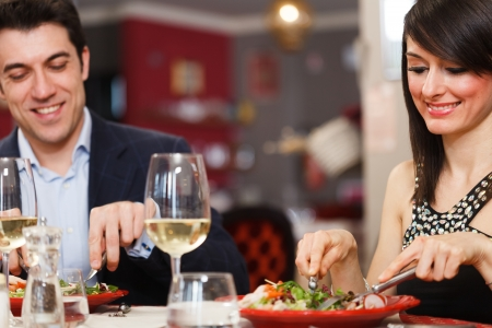 first date: Couple having dinner in a restaurant