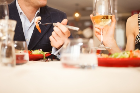 Couple having dinner in a restaurant Stock Photo - 19567894
