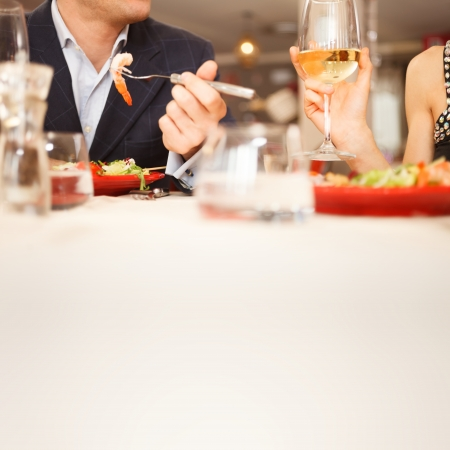 dinner table: Couple having dinner in a restaurant