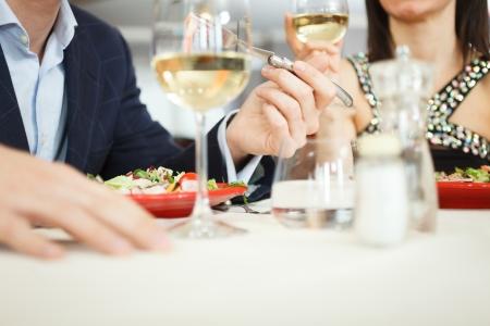 Couple having dinner in a restaurant Stock Photo - 19567883