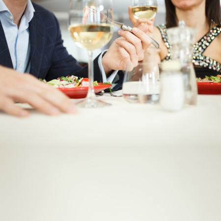 restaurant dining: Couple having dinner in a restaurant