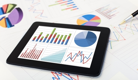 business results: Tablet computer and financial charts