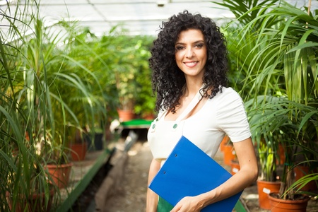 floriculture: Worker examining plants in a greenhouse Stock Photo