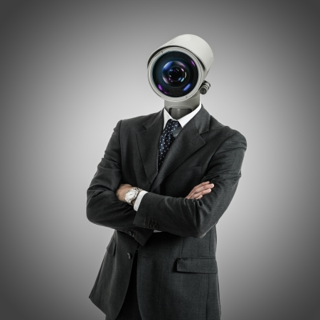 private security: Portrait of a camera headed man
