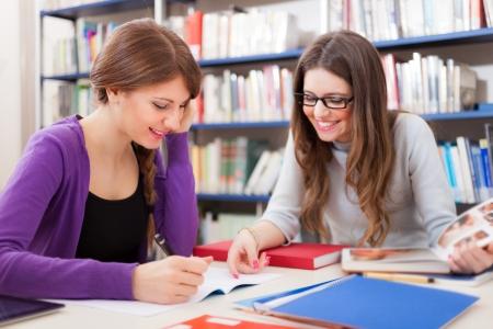 Porträt der lächelnden Schüler bei der Arbeit in einer Bibliothek