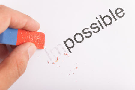 feasible: Business concept: motivation. Word impossible transformed into possible.