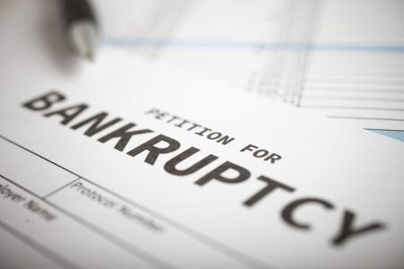 Close-up van een faillissementsaanvraag
