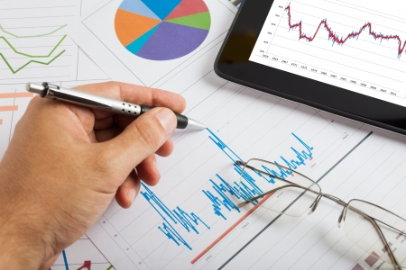 business trends: Tablet computer and financial charts
