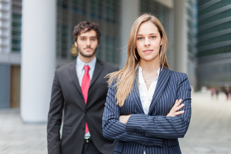 firm: Business people in an urban environment Stock Photo