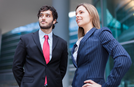 two visions: Portrait of two young business partners Stock Photo