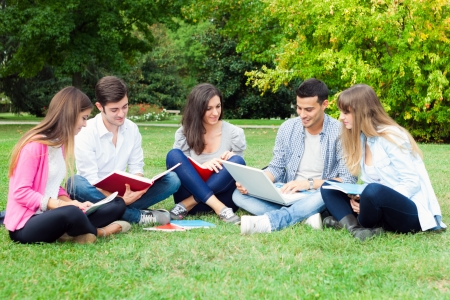 Group of students studying outdoor photo