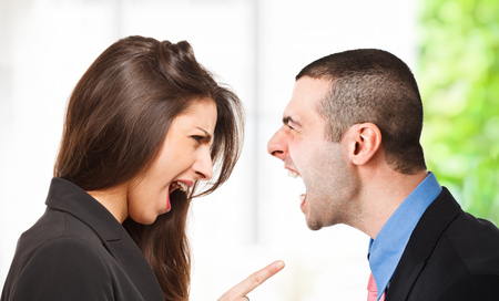 reprimanding: Two persons yelling out to each other