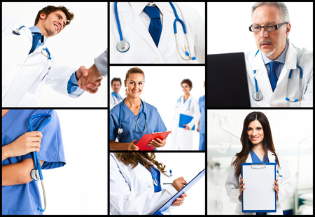 Composition of doctors at work photo