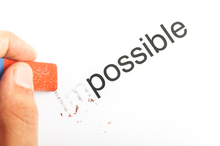 Business concept  motivation  Word impossible transformed into possible  photo