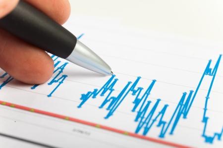Examination of a stock market report photo