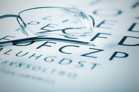 shortsightedness: Eyeglasses on a sight test chart