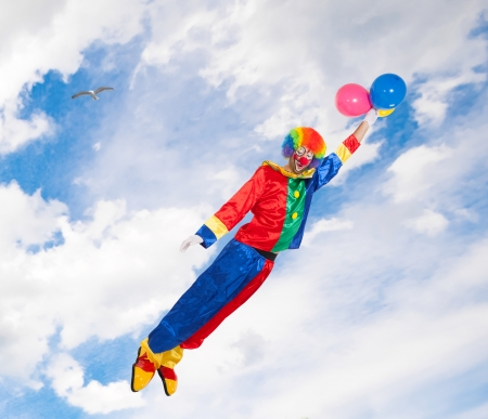 Clown flying in the sky