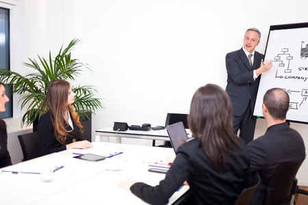 sales manager: Businessman explaining a strategy