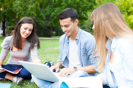 high school students: Group of students outdoors Stock Photo