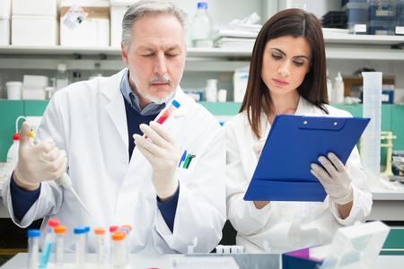 laboratorio clinico: Dos cient�ficos trabajando en un laboratorio Foto de archivo