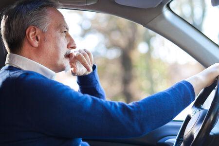 test drive: Man driving his car Stock Photo