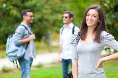 Smiling student outdoor portrait Stock Photo