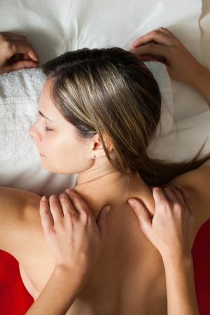 rubdown: Woman receiving a massage in a beauty farm