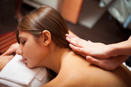 Beautiful woman having a massage Stock Photo