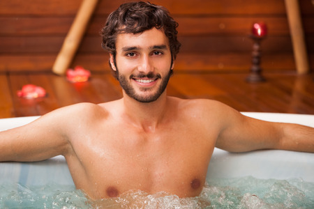 beauty farm: Young man relaxing in a beauty farm Stock Photo