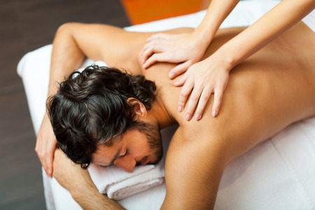 lymphatic drainage therapy: Man relaxing in a wellness center