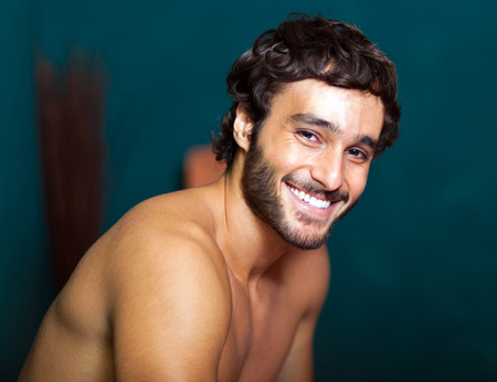 wellness center: Smiling man in a wellness center Stock Photo