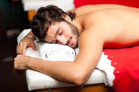 rubdown: Man relaxing in a wellness center
